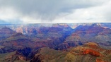 Rain falls over the North Rim. We stay dry.