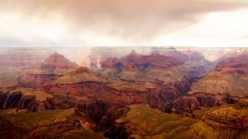 Rain over the Grand Canyon.