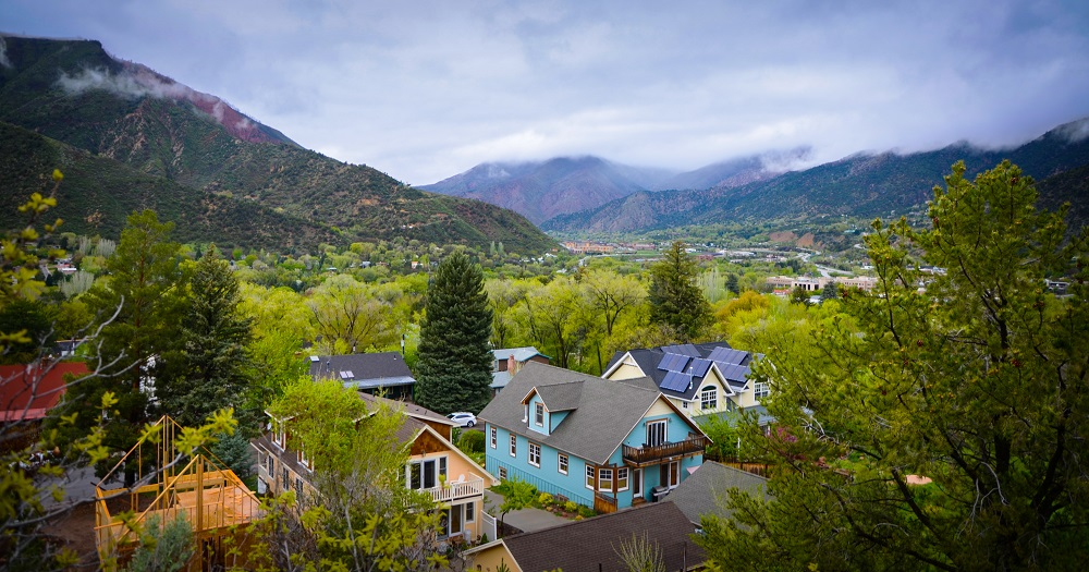 Looking across the city of Glenwood Springs from the Doc Holliday Trail.