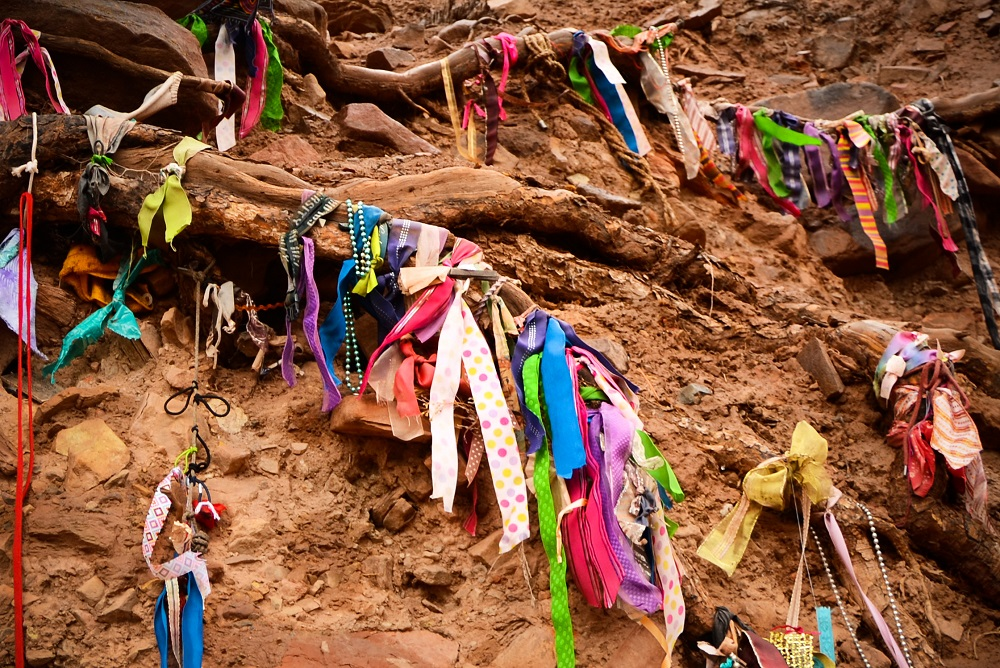 Ribbons were added by unknown hikers after Annie created the Wishing Tree.