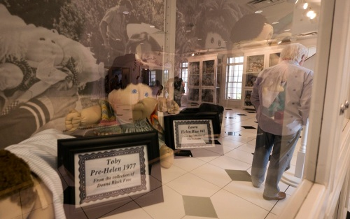 An entryway case displays vintage Cabbage Patch dolls while display cases reflect in the glass.