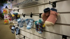 Racks of accessories for Cabbage Patch Kids.
