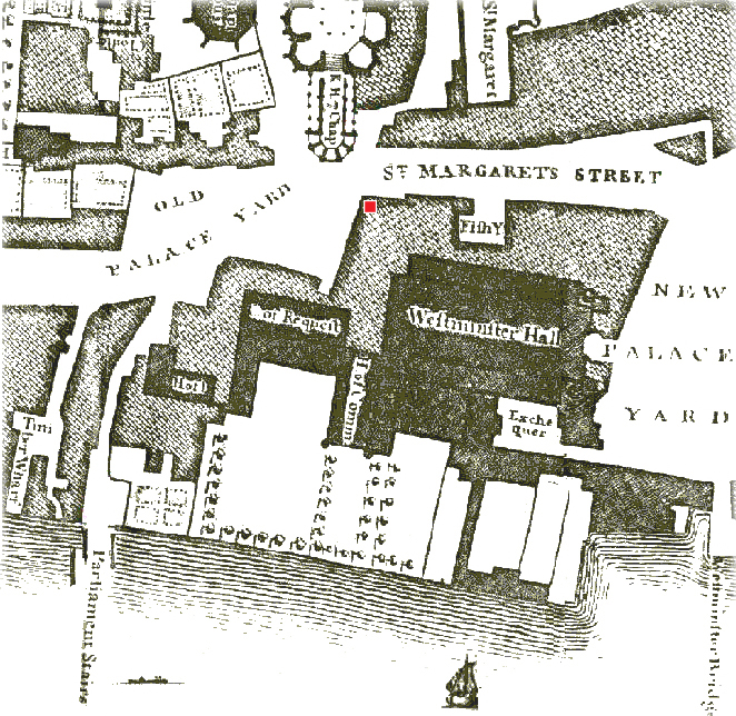 Old Palace Yard 1746 from Roques map w red.jpg