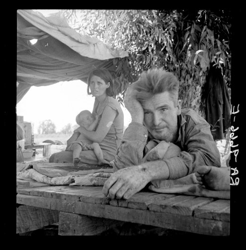 Drought refugees from Oklahoma SM camping by the roadside. They hope to work in the cotton fields. There are seven in family. Blythe, California 8b38481a.jpg